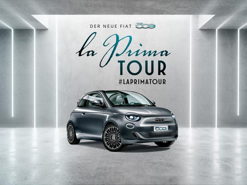 """Der neue vollelektrische Fiat 500 """"la Prima"""" steht am 08.10.2020 bei uns."""
